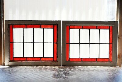 Pair of Antique Stained Glass Windows Ruby Bordered (3133)