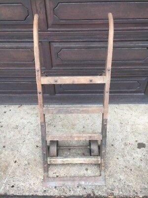 Antique 2 Wheeled Industrial Fairbanks Hand Cart / Dolly / Truck - Wood and Iron