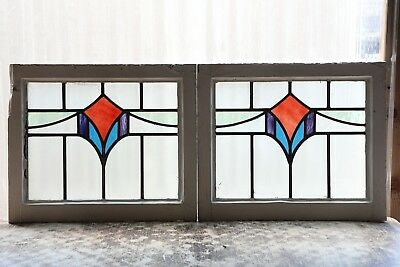 Pair of Antique Stained Glass Windows Four color Art Deco Swag (3138)
