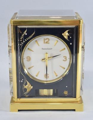 Jaeger Le Coultre Black Aquarium Atmos Clock Brass Lucite Fish Seaweed Coral