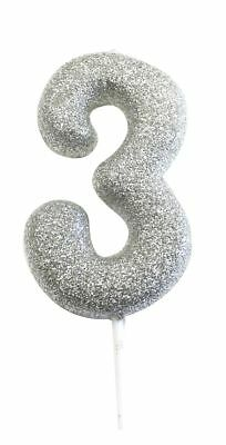 * 10CM SILVER GLITTER NUMBER 3 CANDLE 3rd  BIRTHDAY PARTY CAKE DECORATION NEW **