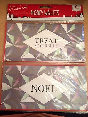Christmas Money Gift Wallet Cards, Pack Of 6, 3 X Noel & 3 X Treat Yourself