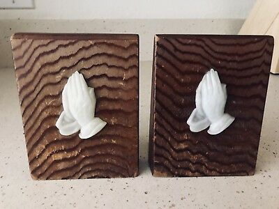 Vintage Holy Bible Collectible Bookends Brown And White Praying Hands