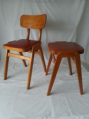 Vintage Wooden Kitchen Chair and Stool w/ Red Vinyl Seats