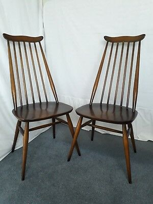 2 x Ercol Goldsmith Dark Wood Dining Chairs