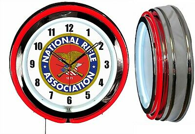 "NRA National Rifle Association 19"" Double Neon Clock Red Neon Chrome Finish"