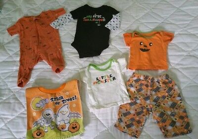 3-6 Month Halloween Clothing Lot *first HALLOWEEN* With Bib!
