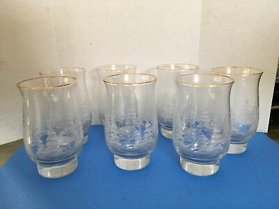 7 Libbey Christmas Winter White Frosted Pine Trees Tumblers Glasses Arby's