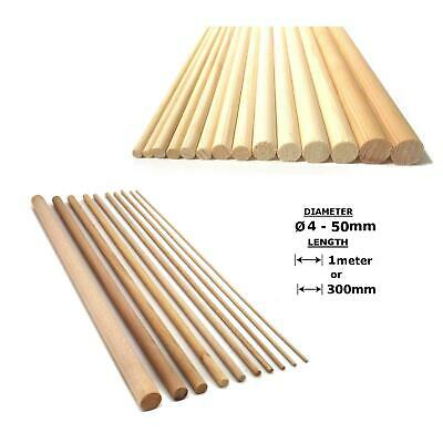 Oak or Beech Wood Dowels Smooth Rod Pegs - 30cm/1m length 4 - 55mm diameter