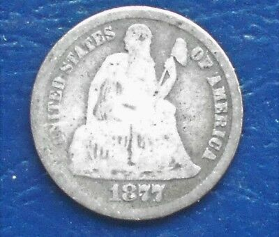 .900 Silver 1877-CC 10C Seated Liberty Dime Carson City Mint Nice Circ # WB 16