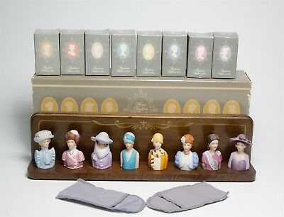 VTG Avon Lady Thimble Collection American Fashion Silhouettes & Wood Rack Holder