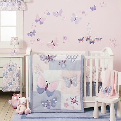 Erfly 3 Piece Crib Bedding Set Nursery S Quilt Sheet Bedroom Baby