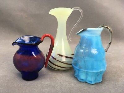 Lot of 3 Miniature Italian Murano Art Glass Pitchers