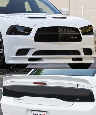 11-14 Charger GTS Smoke Headlight Fog Light Taillight Solid Center Covers 7pc