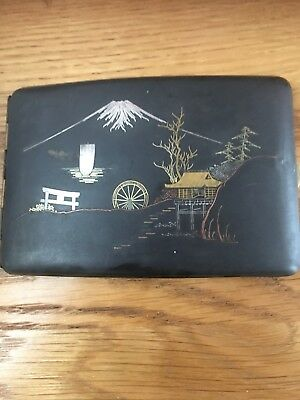 Antique Japanese Komai Damascene Niello Inlaid Gold And Silver  Card Case Signed