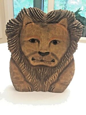 James Haddon hand-carved and hand-painted wood lion. Signed by artist!!