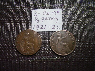 Uk (Great Britain)   2 Coins    Half Penny    1921 & 1926
