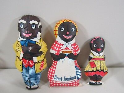 Vintage Oil Cloth Plush Uncle Moses, Aunt Jemima and Diana Dolls