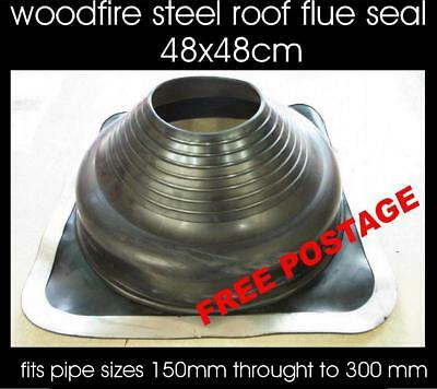 Wood heater fire decktite style flashing flue pipe rubber weather chimney seal