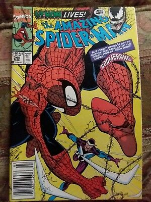 AMAZING SPIDER-MAN #345 Newsstand CLETUS KASADY EXPOSED TO THE SYMBIOTE! VF/F