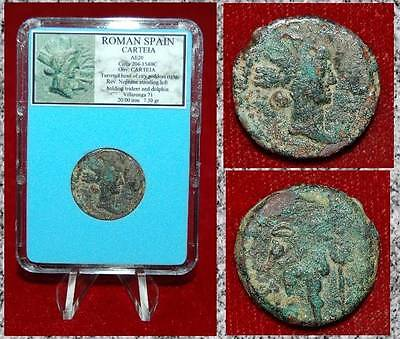 Ancient Coin Roman SPAIN CARTEIA Head Of City Goddess And Neptune On Reverse