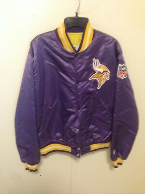 the best attitude 8c8d7 1e70f VINTAGE 90S STARTER Pro Line Minnesota Vikings Satin Button Up Jacket Size  Large