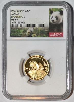 1999 China 25 Yuan Small Date Gold Panda Coin NGC/NCS MS69 Conserved!! Red Label
