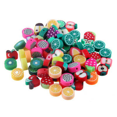 100pcs Fruit Printed Polymer Clay Spacer Loose Beads Fit DIY Bracelet Necklace