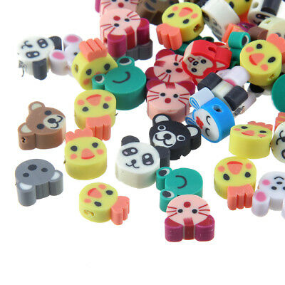 100x Cartoon Animal Cat/Bear Print Polymer Clay Loose Bead Fit Bracelet Necklace