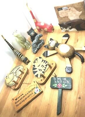 Handmade Wooden Cat Bali Collection  I LOVE CATS 12 ART Pieces - FREE SHIPPING
