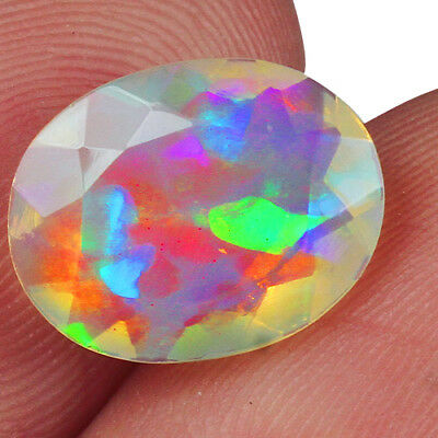 1.95CT Ethiopian Play Of Color Welo Opal Faceted Cut 100% Natural UQOL2195