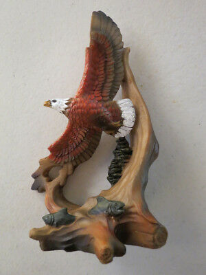 Mini Carved Wood Look Flying Eagle Figurine Indoor Home Decor & Accents