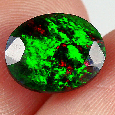 1.6CT Ethiopian Play Of Color Black Opal Faceted Cut  Natural UQOP2337