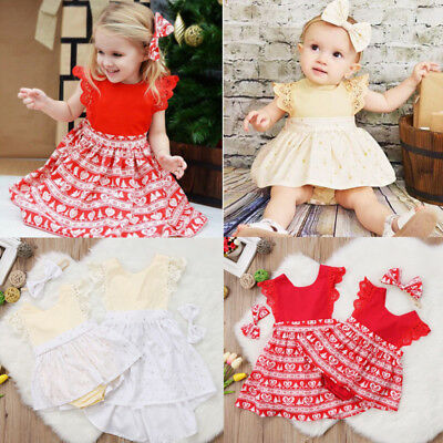 US Seller Newborn Kids Baby Girls Xmas Lace Romper Dress Party Headband Outfits