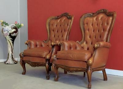 Antique Vintage French Louis XV Office Bed Dining Room  Leather Arm Chair Set 2