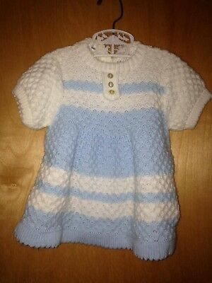 Vintage Marshall Field & Co. 100% Acrylic Fiber Blue & White Baby Dress