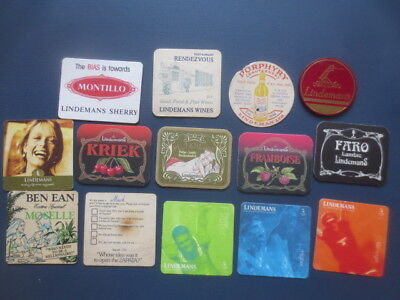 14 different LINDEMAN,S  Wines,1970 - 2000,s Issued  Advertising COASTERS