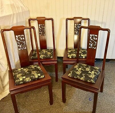 Chinese Antique Chair - Lot Of 4 Hand Carved Mahogany Dragons Qing Dynasty
