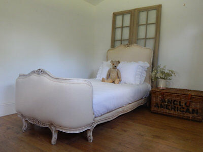 Antique french single bed with new upholstery