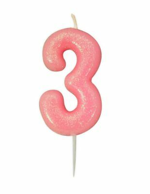 ** 10CM PINK GLITTER NUMBER 3 CANDLE 3rd BIRTHDAY PARTY CAKE DECORATION NEW **