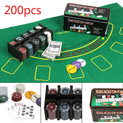 Professional 200 Piece Texas Hold'em Poker Casino Game Chips Set In Case Sets Uk