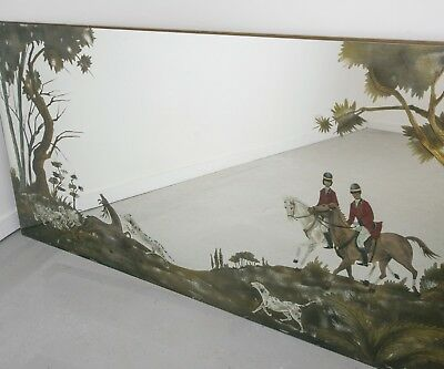 Vintage French Bistro Mirror With Hunting Scene Large