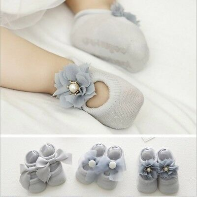 3 Pairs Baby Boy Girl Cotton Bowknot Socks Toddler Kids Soft Ankle Sock AU