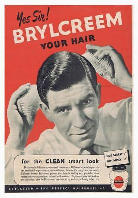 Vintage Hair grooming cream advert  poster reproduction. Brylcreem