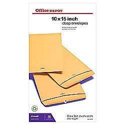 Office Depot(R) Brand Clasp Envelopes, 10in. x 15in., Brown, Box Of 100