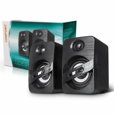 Compoint Compact Stereo Speakers USB Powered 3.5mm Jack For PC Laptop Tablet NEW