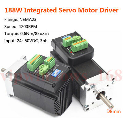 188W NEMA23 Integrated Servo Brushless Motor Driver 0.6Nm 36V 3ph D8mm 4200RPM