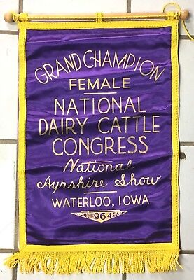 Ayrshire Cow dairy banner Vintage 1964 CHAMPION DAIRY CATTLE SHOW Waterloo IOWA