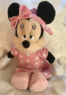 """Rare Mini Mouse 15"""" Plush Toy Disney In Night Clothes With Sleepy Eyes See Pics"""