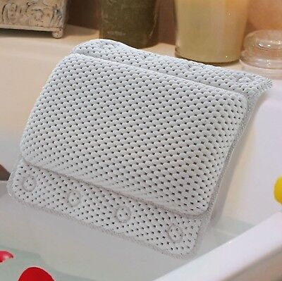 Non-Slip White Cushioned Bath Pillow With 8 Slip-Resistant Suction Cups